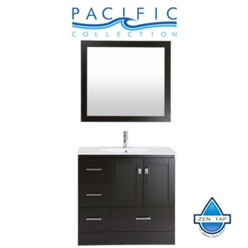 "36"" Redondo Espresso Single Modern Bathroom Vanity with Integrated Sink - Left"