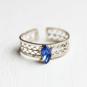 Silver and Blue Woven Ring