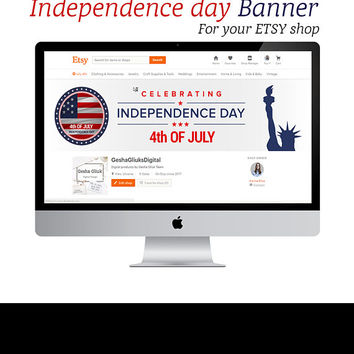 Independence day cover banner for etsy shop. 4TH OF JULY Banner. Cover Banner. Banner.