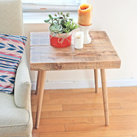 GOWANUS side | Mid century modern inspired reclaimed wood side table