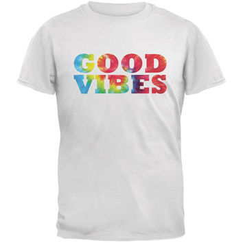 Tie Dye Good Vibes White Adult T-Shirt
