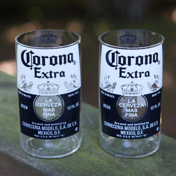 Corona Extra drinking glasses upcycled from Corona beer bottles: Set of 2