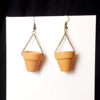 Tiny terra-cotta flower pot gardeners earrings