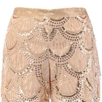 Scale Pattern Sequin Shorts, Gold