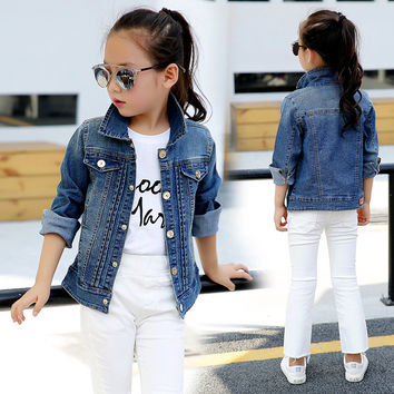 Girls Denim Jackets Children Clothing 2016 Spring Autumn Denim Coats For Girls Outerwear Kids Clothes Tops 2 4 6 8 10 12 14 Year