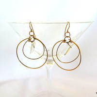 Quartz hoop earrings, quartz points in gold circle dangle earrings, fine jewelry, gift under 40