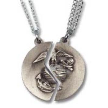 Silver us marine corps mizpah pendant from the marine shop silver us marine corps mizpah pendant set pewter silver tone marine corps wife or gir aloadofball Image collections