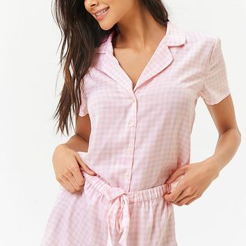 Gingham Satin PJ Set