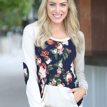 White Floral Print Sweater with Pocket