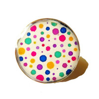 multicoloured polka dots  adjustable resin ring, handmade ring, polka dots vintage adjustable ring jewelery, customised ring, colorful