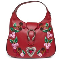 ONETOW Gucci Red Dionysus Embroidery Cherry Blossoms Leather Shoulder Bag Medium Hobo Handbag New