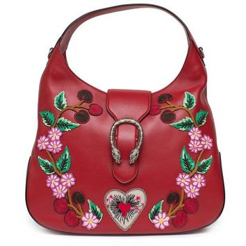VONW3Q Gucci Red Dionysus Embroidery Cherry Blossoms Leather Shoulder Bag Medium Hobo Handbag New