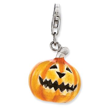 Sterling Silver 3-D Enameled Jack O Lantern With Lobster Clasp Charm