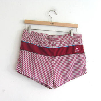 Vintage Men's Beachwear Lounge Swim Trunks size M. red and white swimming shorts