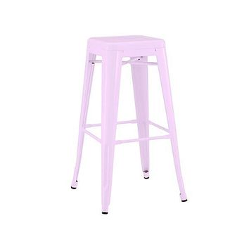 """Dreux Stackable Glossy Lilac Steel Barstool 30"""" (Set of 4)"""