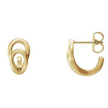 7mm x 13mm (1/4 x 1/2 Inch) 14k Yellow Gold Small Geometric J-Hoops