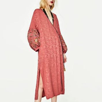 boho Wrapped dress 2017 autumn Jacquard fabric V-neck chic floral embroidery long sleeve loose kimono style long women dresses