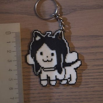 Undertale inspired Temmie 8 bit pixel key-chain