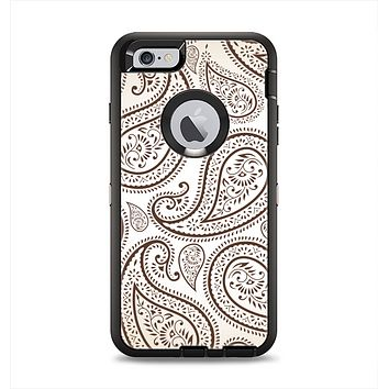 The Tan Highlighted Paisley Pattern Apple iPhone 6 Plus Otterbox Defender Case Skin Set
