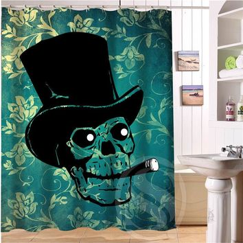 Skull Shower Curtain Polyester Fabric Custom Bathroom Curtain with Hooks