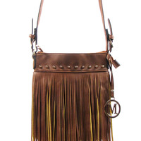 Brown- crossover fringe purse