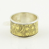 Spinner Ring - Two Tone - Wide Brass Band - Keja Jewelry