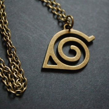 Bronze Naruto hidden leaf symbol necklace