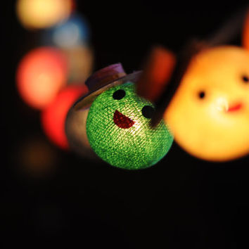 20 smiley face cartoon hanging cotton ball night light lantern party decor kid bedroom decor cute present gift