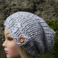 Hand Knit Hat Women's Hat- hand knitted-  grey and white slouchy- beanie- hat with wooden button.