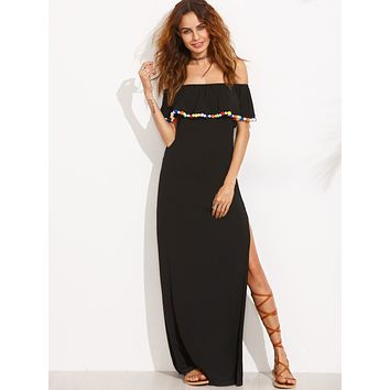 Off Shoulder Pom Pom Maxi Dress