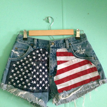 American Flag HighWaisted Shorts by HypsterDreamz on Etsy