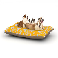 "Anneline Sophia ""Dotty Papercut Yellow"" Circles Gray Dog Bed"