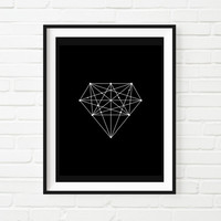 Printable Art Black Diamond Geometric Print Home Decor Inspirational Art Fashion Illustration Wall Decor Home Decor Summer Trends