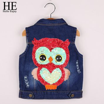 Kids Clothes Girls Winter jackets Coat Cartoon Children Clothing Toddler Girl Vest Outerwear Autumn owl