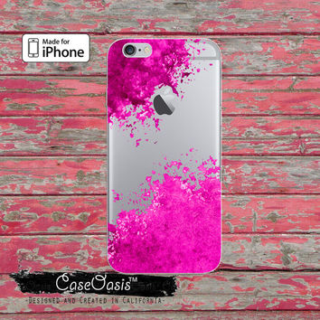 Purple And Pink Paint Splatter Watercolors Art Cute Clear Rubber Phone Case For iPhone 6 and iPhone 6 Plus + Transparent Crystal Custom Case