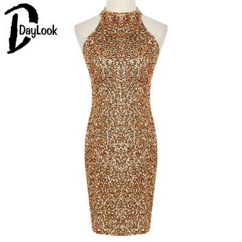 Daylook 2016 Summer Style Halter Women Golden Bodycon Dress Party Sexy Novelty Sequin Dress Sleeveless Vestidos Bandage Slim Fit