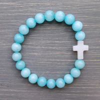 Baby Blue Cross Bracelet