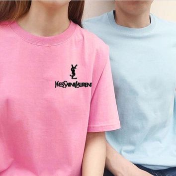 Gotopfashion YSL Top Yves Saint Laurent Shirt Sides Embroidery Logo Women Men Tee Shirt Top B-AA-XDD Five Color-Pink
