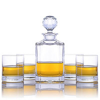 Crystalize Whiskey Decanter and Glasses - 5 Piece Set
