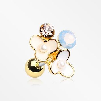 Golden Flower Ranai Sparkle Pearlescent Cartilage Tragus Earring