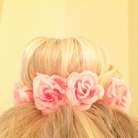 Vintage Floral Inspired Bun Cover for Top Knots Sock Buns and Messy Buns in Coral Pink Colored Flowers Fashionista Girly Hipster Mini Crown