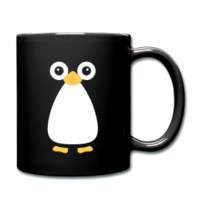 Cute Vector Penguin Black Mug