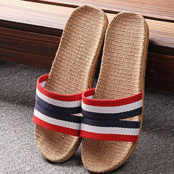 Mens Comfortable Linen Slipper Sandals