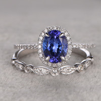 6x8mm Oval Wedding Set Diamond Bridal Ring 14k White Gold Marquise Halo Blue Gemstone