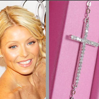 BEWARE of CHEAP IMITATIONS/// Kelly Ripa Sideways Cross Necklace with Cz //Sterling Silver//Celebrity Necklace