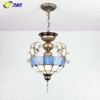 European Chandelier, Blue and White Shade with Antique Brass and Crystal Appointments.  Tiffany Stained Glass Stye Chandelier.