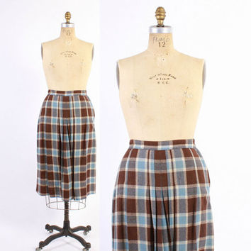 Vintage 30s SKIRT / 1930s Brown & Blue Plaid Wool Side Button Pleated Pencil Skirt M
