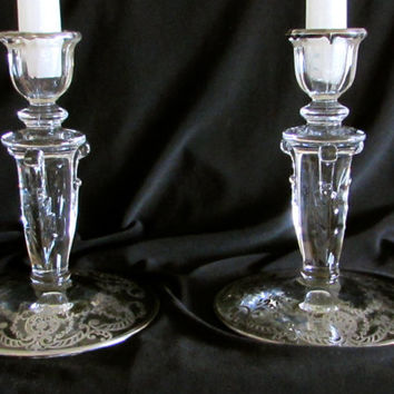 Single Candle Holder Set, Regent Style Silver Overlay Candlestick Holders, Home Decor, laslovelies