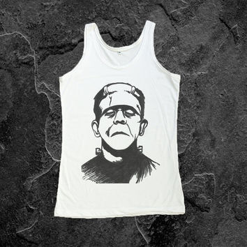 Frankenstein Monster Shirt Tank Top Hipster Hype T Shirts Women Tshirt Size S, M, L