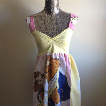 Vintage Beauty and the Beast Belle Disney Yellow Sweetheart Babydoll Dress